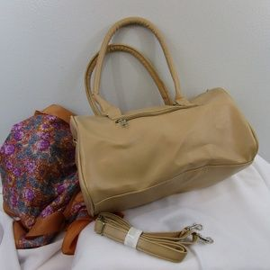 Handbags - NWOT Faux Leather Tan Barrel Satchel Purse